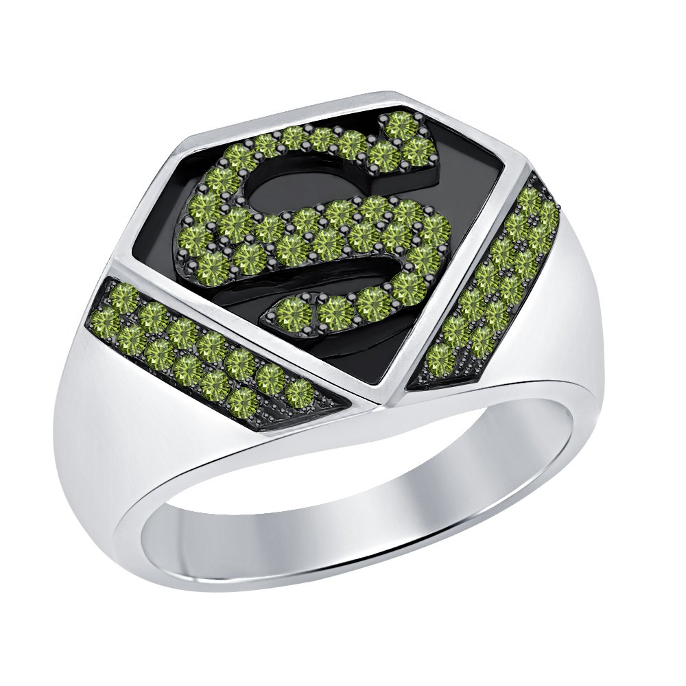 SVC-JEWELS Awesome 1.12 CT Round Cut Created Tourmaline 14K Two-Tone Gold Plated Superman Logo Shield Men/'s Ring