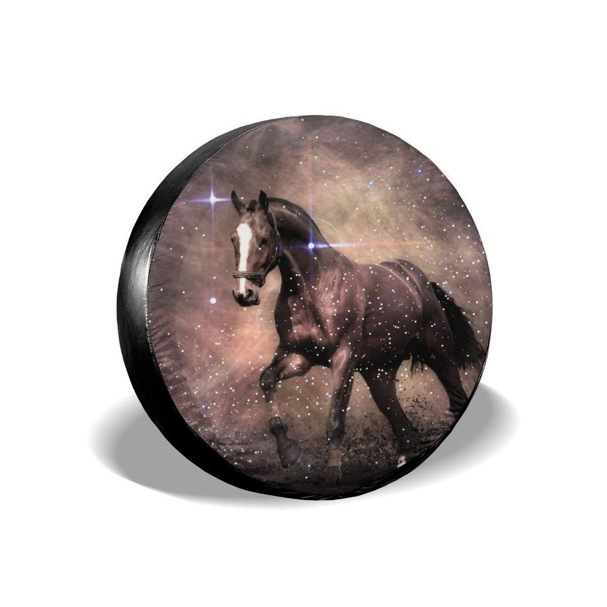 Tire Cover Running Horse Potable Polyester Universal Spare Wheel Tire Cover Wheel Covers for Jeep Trailer RV SUV Truck Camper Travel Trailer Accessories 14,15,16,17 Inch