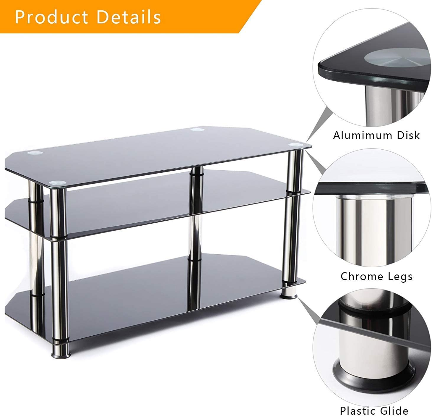 mimoday TV Stand Table Unit TV Unit Curved Glass Table TV Cabinet with Tempered Glass for 32-60 inch Plasma//LCD//LED//3D