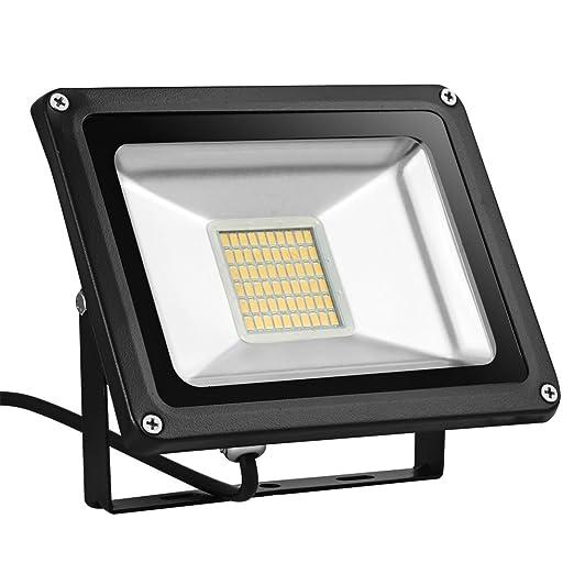 Foco proyector LED 30W para exteriores, 2100LM, Blanco cálido ...