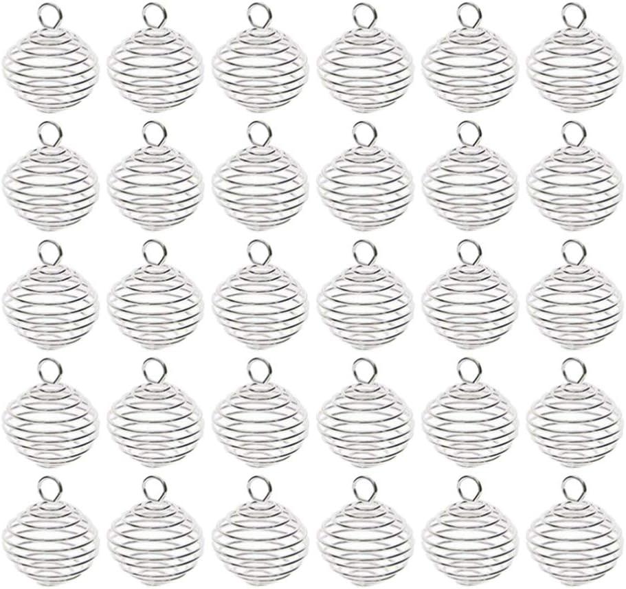 SUPVOX 30 Piezas Espiral Primavera Cuentas Jaulas Colgantes Bola Encanto Colgantes para Diy Lava Piedra Cuentas Piedra Preciosa Llavero Bolsa Joyería Tamaño 2