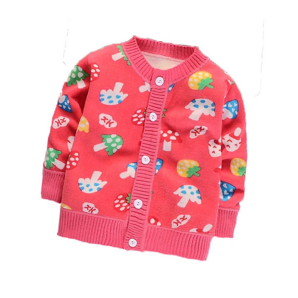 Hongyuangl Unisex Baby Cardigan Long Sleeve Fleece Jacket Kids Knitwear Thick Warmer Coat for 0-5 Years Boys Girls