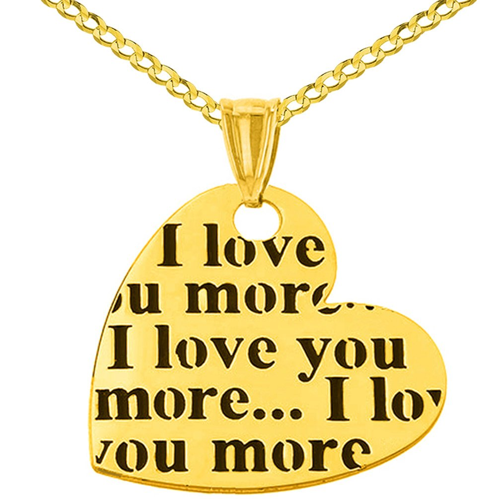 14K Yellow Gold Heart Charm with I love you more Script Pendant Necklace, 18''