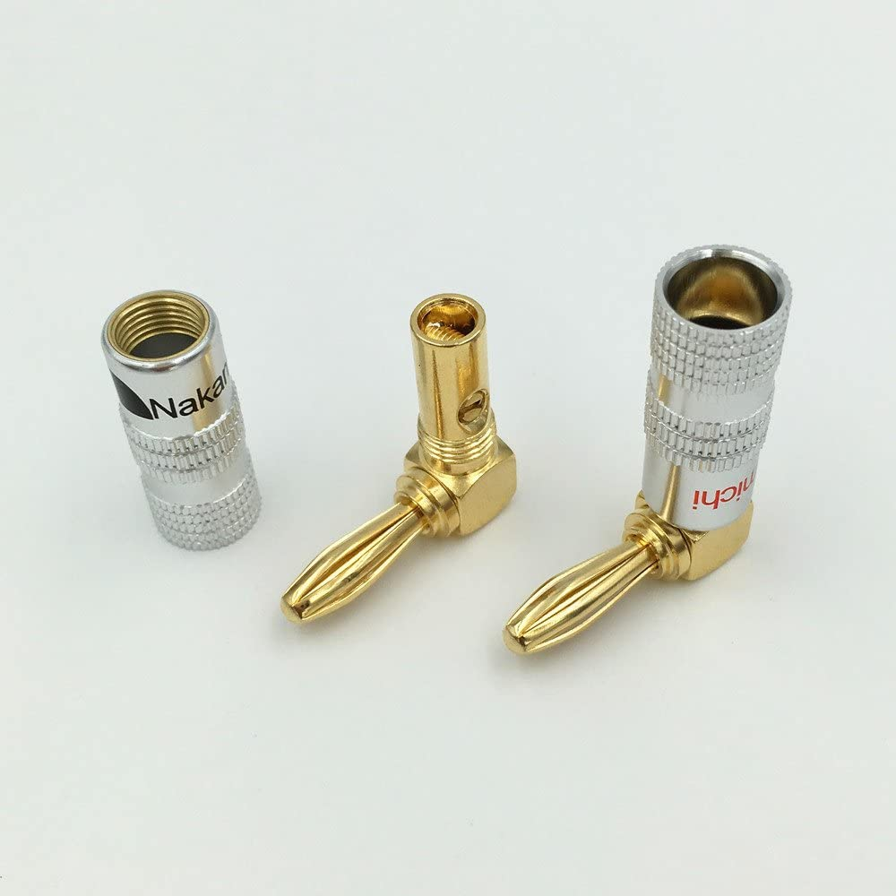 100Pcs Brass 90 Degree Right Angle 4mm Nakamichi Banana Plug For Video 24K Gold Plated Speaker Adapter Audio Connector