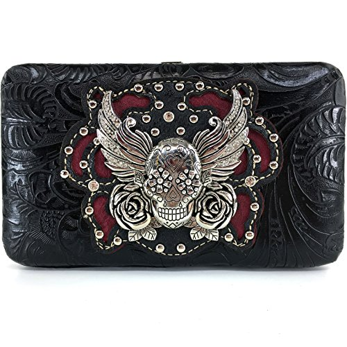 Justin West Tooled Winged Sugar Skull Roses Laser Cut Chain Shoulder Concealed Carry Handbag Purse Wallet Messenger Bag (Black Flat Wallet ()