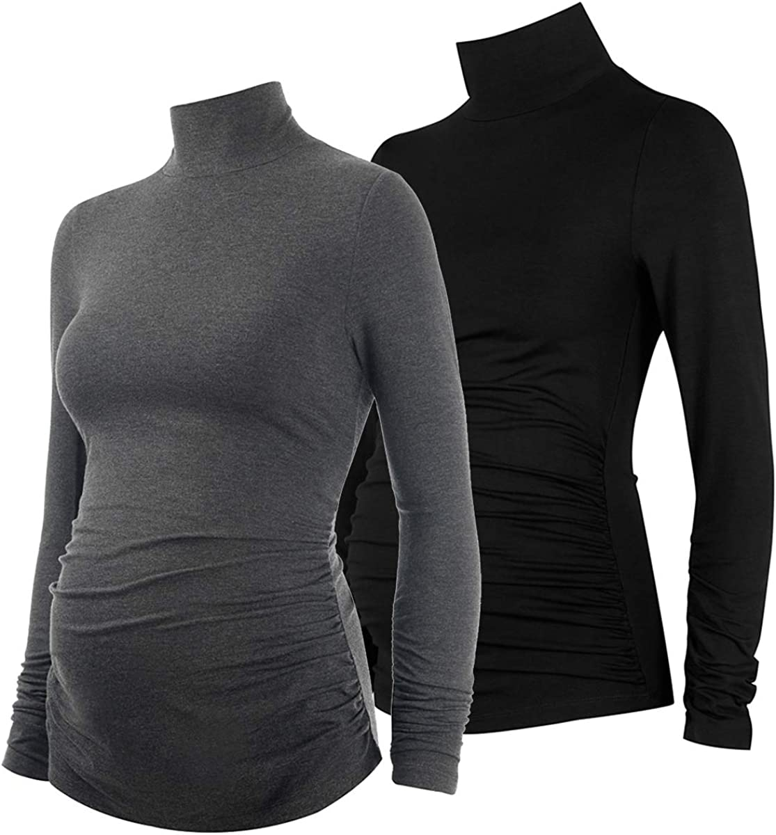 Women Maternity Tops Side Runched Long Sleeve Mock Collar Tunic Winter Maternity Shirts