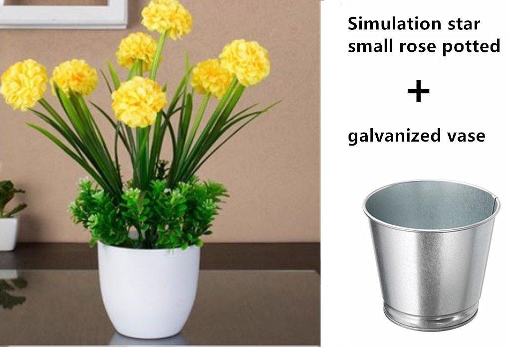 White 11 Inch Large Petals 7 Hydrangea Flowers XICHEN Artificial Potted Plant Plus Flower pots