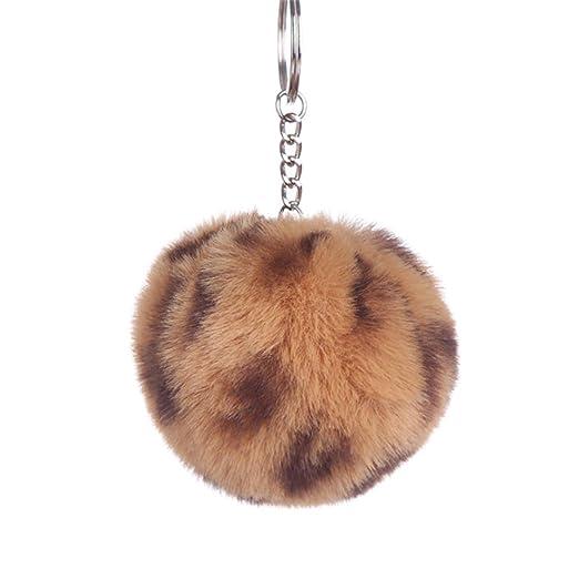 Bowknot Women Key Chain Fur Ball Keychain Fake Rabbit Pompom ...