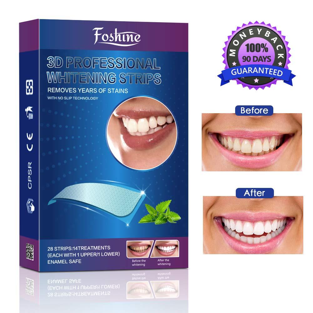 Teeth Whitening Strips, Foshine Professional Whitestrips Zero Peroxide Fluoride-Free Enamel Safe Teeth Whitening Kit No Sensitivity & Fast Results Mint Flavor (14 Upper + 14 Lower) product image