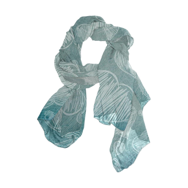Senya Women's Fashion Large Long Sheer Silk Scarf Shawl Wrap, Hearts Pattern