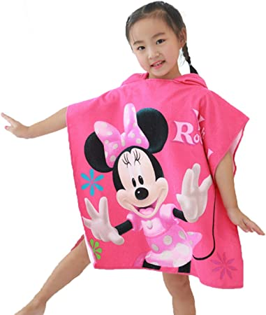 Disney OFFICIAL CARTOON CHARACTER CHILDRENS KIDS HOODED PONCHO BEACH BATH GIRLS BOYS TOWEL