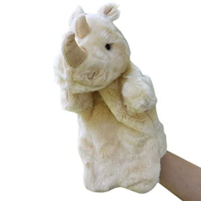 Happy Cherry Kids Puzzle Toys Story Game Education Props Baby Toys Rhino Plush Hand Puppet Toys Animal Hand Dolls : Baby