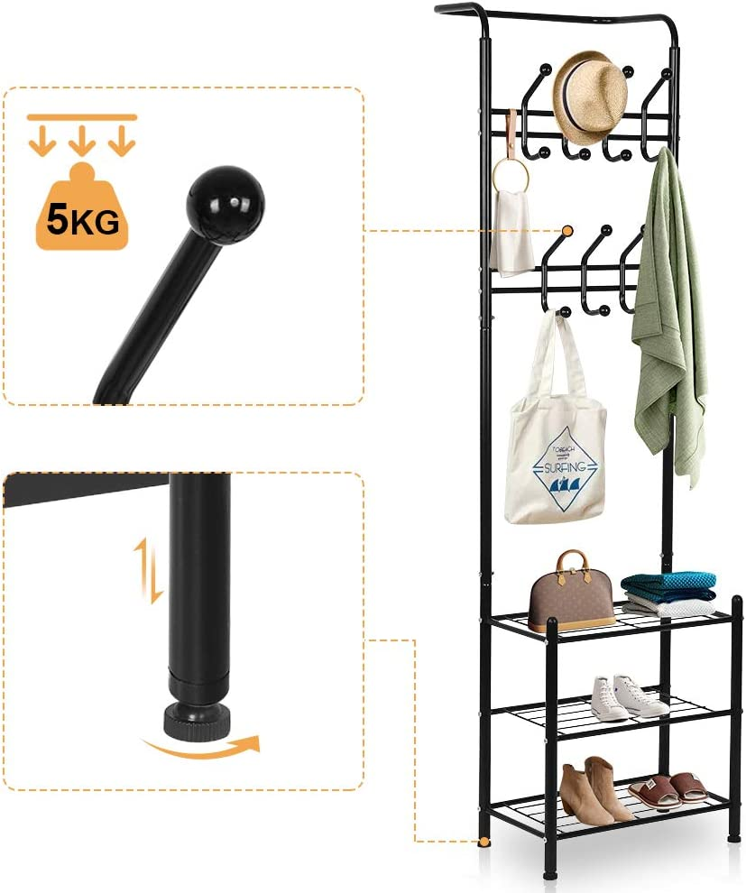 Liusin Metal Entryway Coat Shoe Rack Free Standing Hall Tree With 14 Hooks Coat Hat Umbrella Rack And 3 Tier Shoe Storage Bench For Accent Entryway Corner Hallway Garment Black Coat Racks