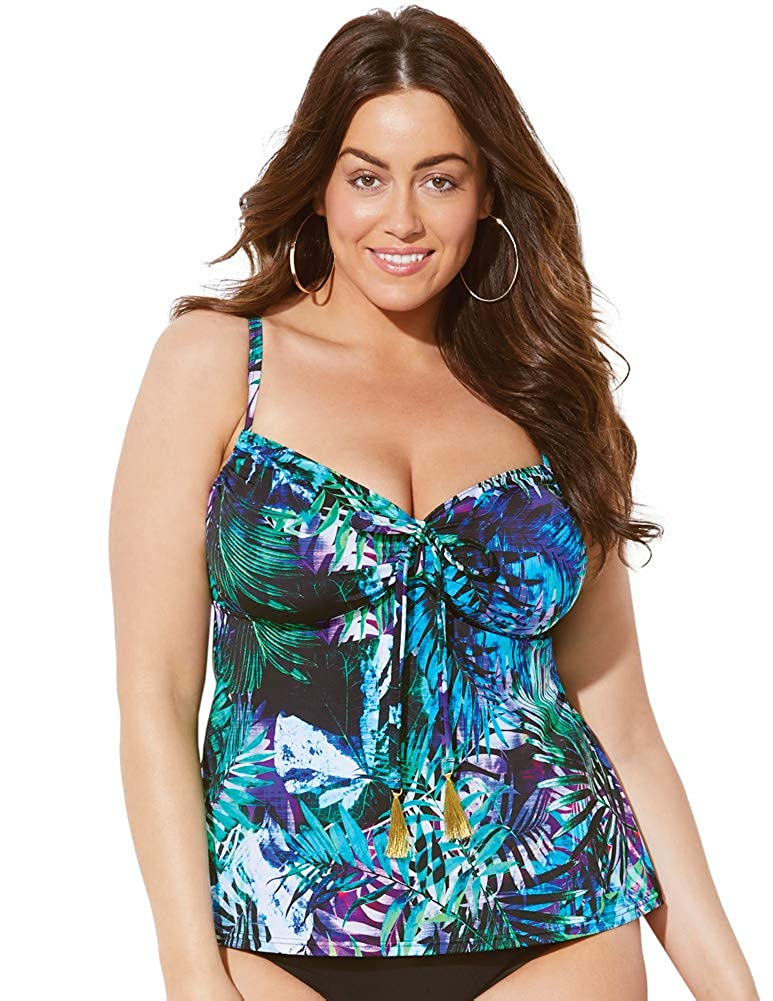 Swimsuits for All Women's Blue Tie Front Underwire Tankini Top swimsuitsforall 641713-pn