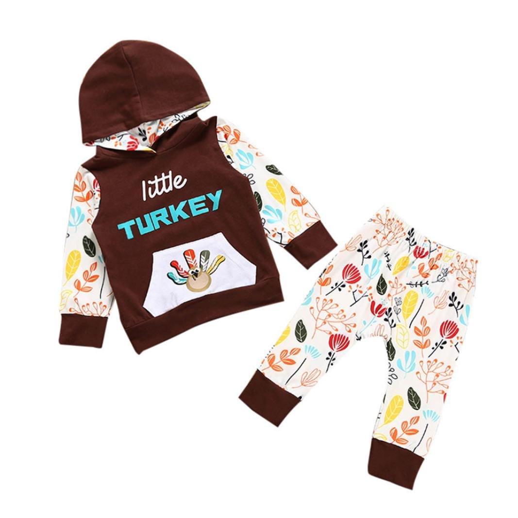 Perman 2PCS Kids Baby Girls Thanksgiving Outfit Print T-shirt Tops+Pants Set PM-1023