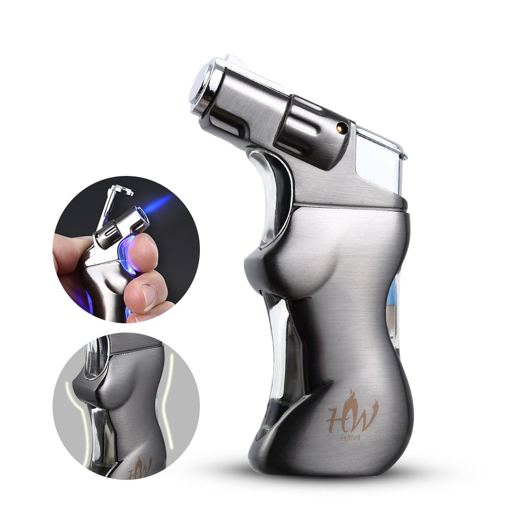 Jet Torch Cigar and Cigarette Lighter with Unique Sexy Woman Body, Butane Gas Refillable and Blue LED Light Design