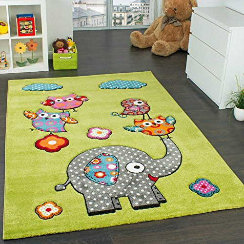 Kinderzimmer Teppich Niedliche Bunte Tierwelt Eule Elefant in Grün Blau Grau Rot, Grösse:120x170 cm