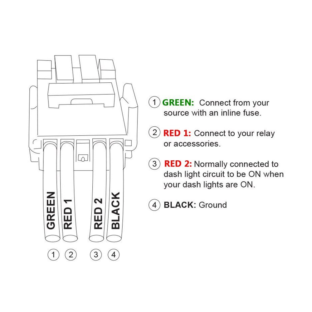 Mictuning New Led Push Button Switch With Connector Amp Wiring Diagram 2014 Sequoia Wire Kit For Toyota Laser Etched Light Bar Symbol White Automotive