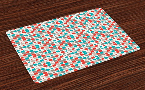 Ambesonne Retro Place Mats Set of 4, Old Fashioned Style Abstract Mosaic Grid Inspired Floral Pattern Classical, Washable Fabric Placemats for Dining Room Kitchen Table Decor, Grey Turquoise Red