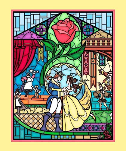 (Beauty and The Beast Stained Glass Fabric Panel by Springs Creative and Licensed by Disney 36