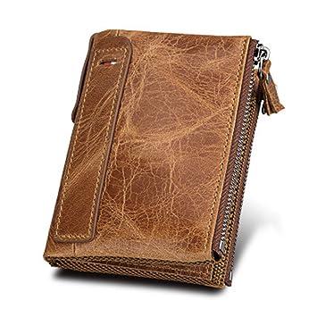 8fb22786d Billetera para Hombre del Zurriago Genuino con Tarjeta de Crédito Titular  Zip Bifold Cartera Regalo en Caja con Caja de Regalo (Marrón): Amazon.es:  Equipaje