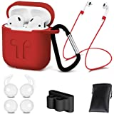 AirPods Case Cover,7 in 1 AirPods Accessories Silicone Airpods Protective Cover Set with Clip Holder/Keychain/Strap/Earhooks/Soft Storage Bag for Apple Airpod (Red) by GIM