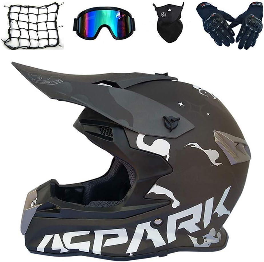 アダルトモトクロスヘルメット、クロスヘルメットバイク、オフロードダウンヒルクワッドATVピットバイク用ゴーグルグローブマスクヘルメットネット、3スタイルあり,ブラック、XL