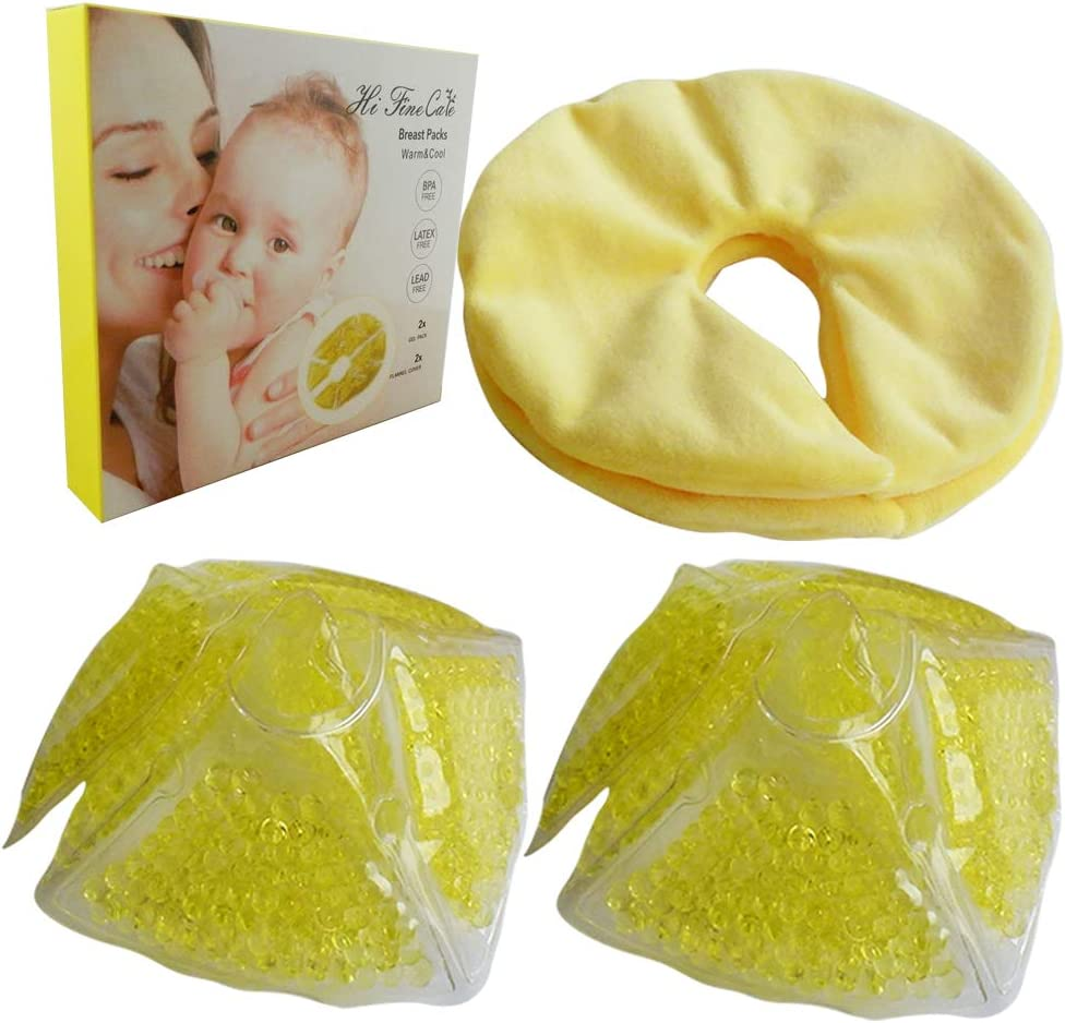 HiFineCare Breast Therapy Pads Breast Ice Pack, Hot Cold Breastfeeding Gel Pads, Boost Milk Let-Down with Gel Bead Pads, 2 Count, 2 Cover (Yellow Gel Pack)