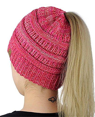 407d42caa5b34 HMILYDYK Women Cable Knit Beanie Tail Hats Soft Stretch Ponytail Messy Bun  Head Wrap Cap for