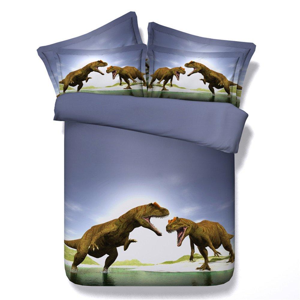 EsyDream 500TC Cotton Jurassic period Kids Love Bedding Sets 4PC No Comforter Queen King Size Dinosaur Child Bedlinen Sets,Full/Queen Size (4PC/Set)
