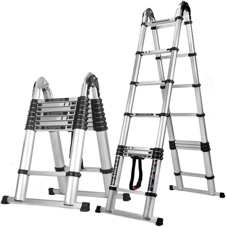 Escalera telescópica 1.6M + 1.6M (10 Pies) Aluminio EN131 Tipo A, Escalera Multiusos De Extensión Profesional para Trabajo Pesado, 330 LB De Capacidad Máxima: Amazon.es: Hogar