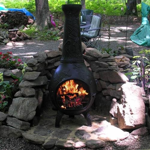 Deluxe Cast Iron Fireplace - Natural Gas Chiminea - Blue Rooster ALCH014GK-GA-NG - Dragonfly Gas Chiminea Outdoor Fireplace - Gold Accent