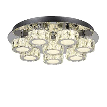 HUAKE Lámparas 8 * 8W LED 8L Luces de techo de cristal 4000K D500mm Lámparas Lámpara de luz regulable Lámpara colgante Acero inoxidable Cristal ...
