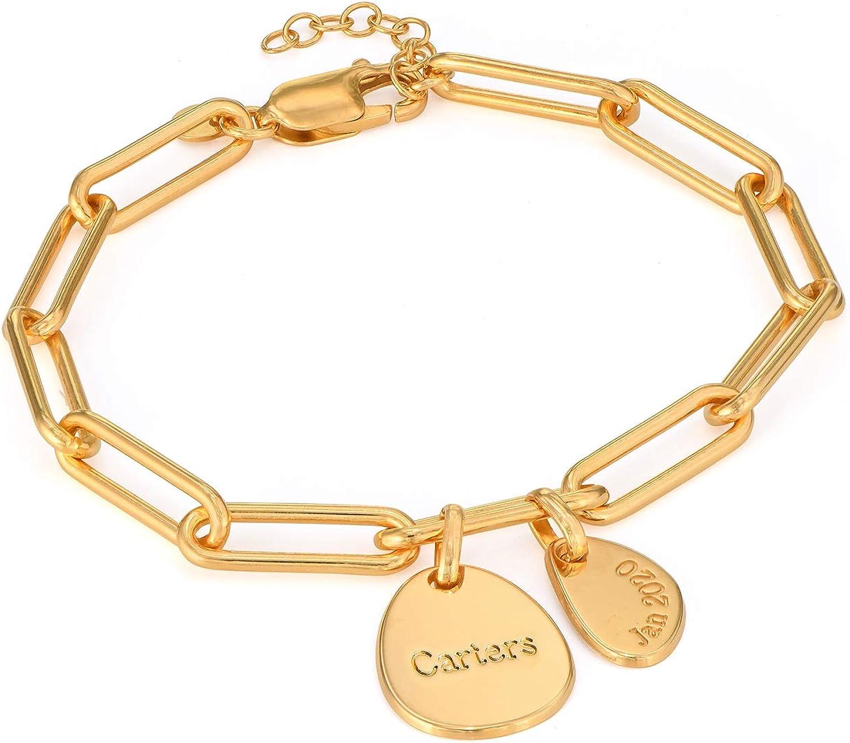 Luxury Jewelry Silver Bangle Gold Necklace Personalized Name Pendant Bangle Engraved Pendant Personalized Photo Circle Pendant Necklace