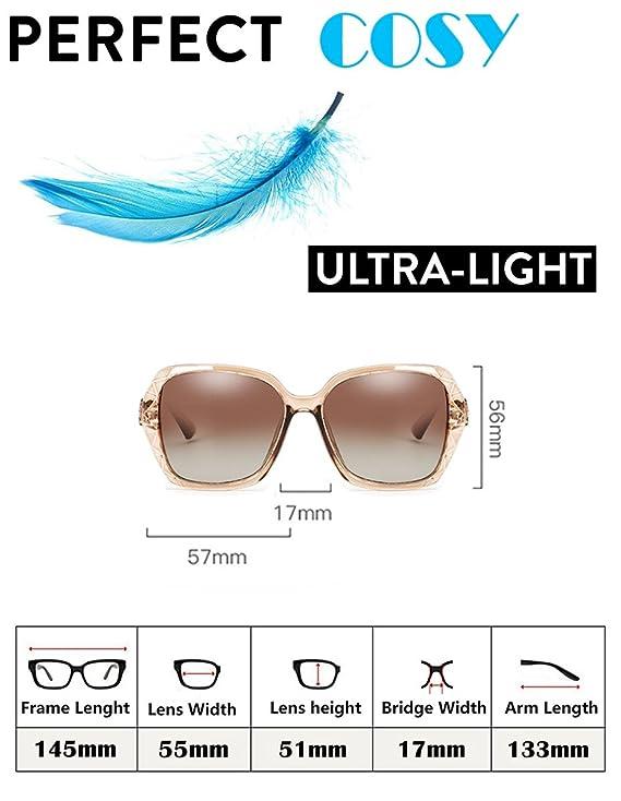 CuOmix Sonnenbrillen Frauen mit Polarisierte Gläser Anti-Reflexion 100% UV400 Augenschutz Stilvolle Oversized Lässige Brille (Gestell Blau/Linse Grau Verlaufend) M80Szb