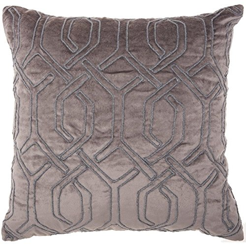 ON 1 Piece 18 x 18 Nude Color Geometric Throw Pillow, Elegant Rhinestone Bead Embroidered Interlock Pattern Contemporary Modern Graphic Print Couch Decor Cushions Seat Pillows Zipper Closure, Velvet (Interlock Embroidered)