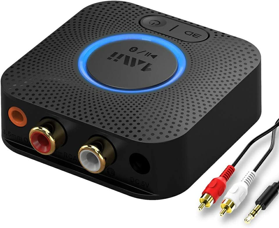 1mii B06LL Receptor Bluetooth 5.0, Adaptador Audio Bluetooth con Batería de 12H para Sistema Estéreo, Bluetooth Receptor HiFi con Jack 3,5mm/RCA, AptX de Baja Latencia, 3D Surround para Amplificador