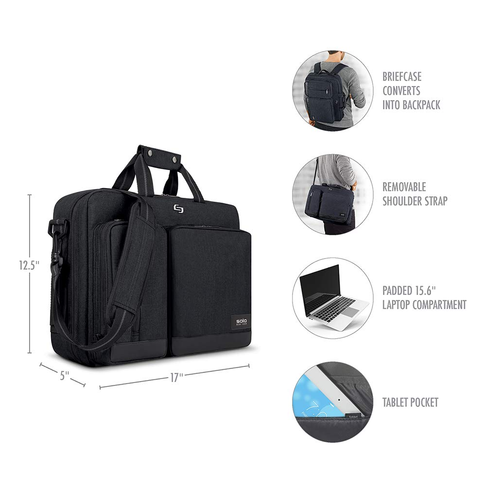 Solo Duane 15.6 Inch Laptop Hybrid Briefcase, Converts to Backpack, Slate, Amazon Exclusive by SOLO (Image #3)