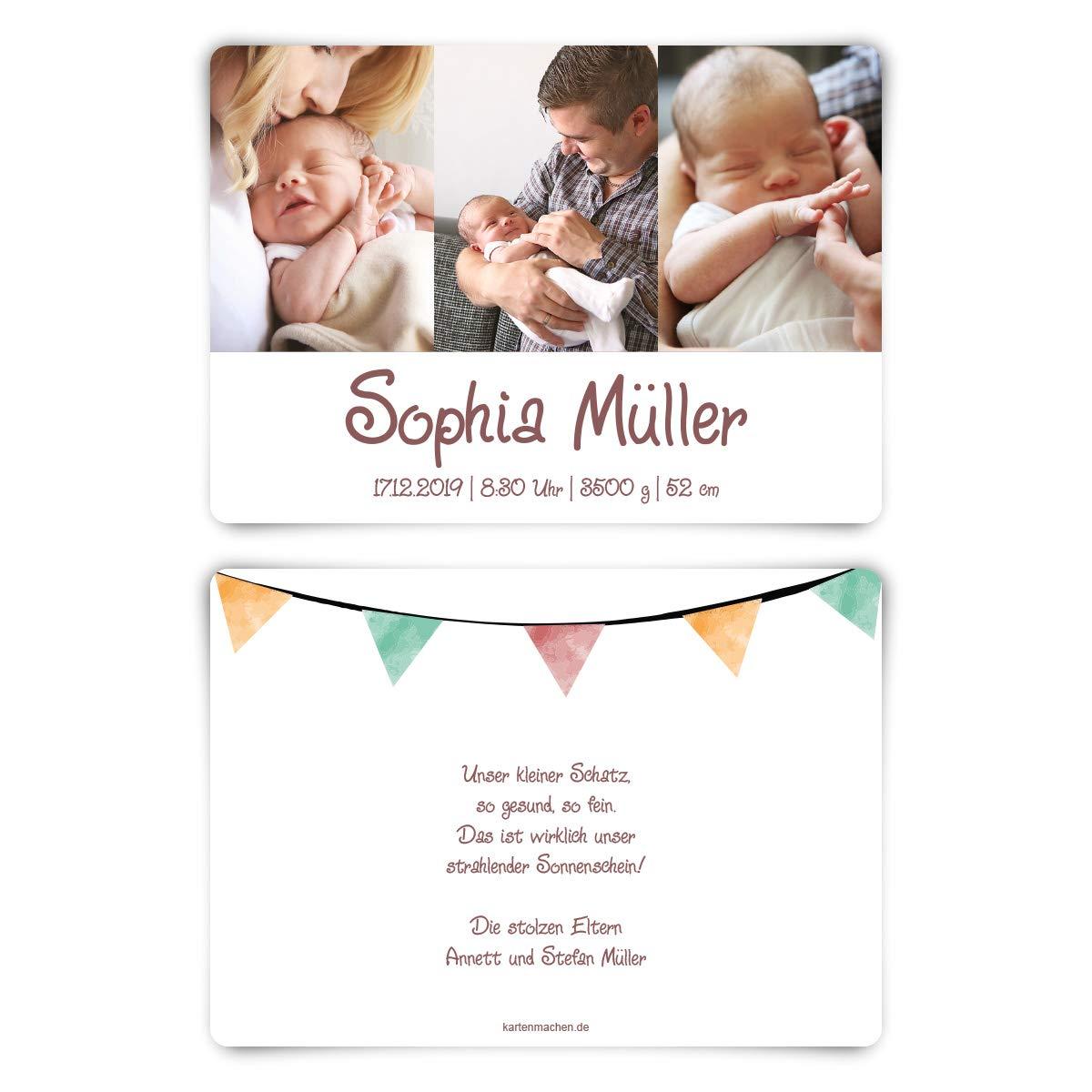 60 x Geburt Danksagungskarten Geburtskarten individuell mit Foto und Text Text Text für Mädchen und Jungen - Aquarell Wimpel B07N123JXD | Ausgang  | Moderater Preis  | Exzellente Verarbeitung  aab640