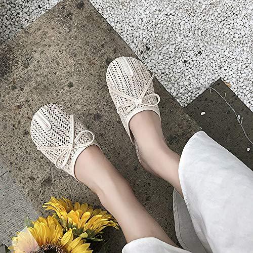 Bow Beige Vintage Creux Baotou 38 Couleur Taille 2 EU Respirant 3 Sandales Sauvage Yiwuhu Pantoufles Plat Jaune Bow Confortable UBdEqBFHw