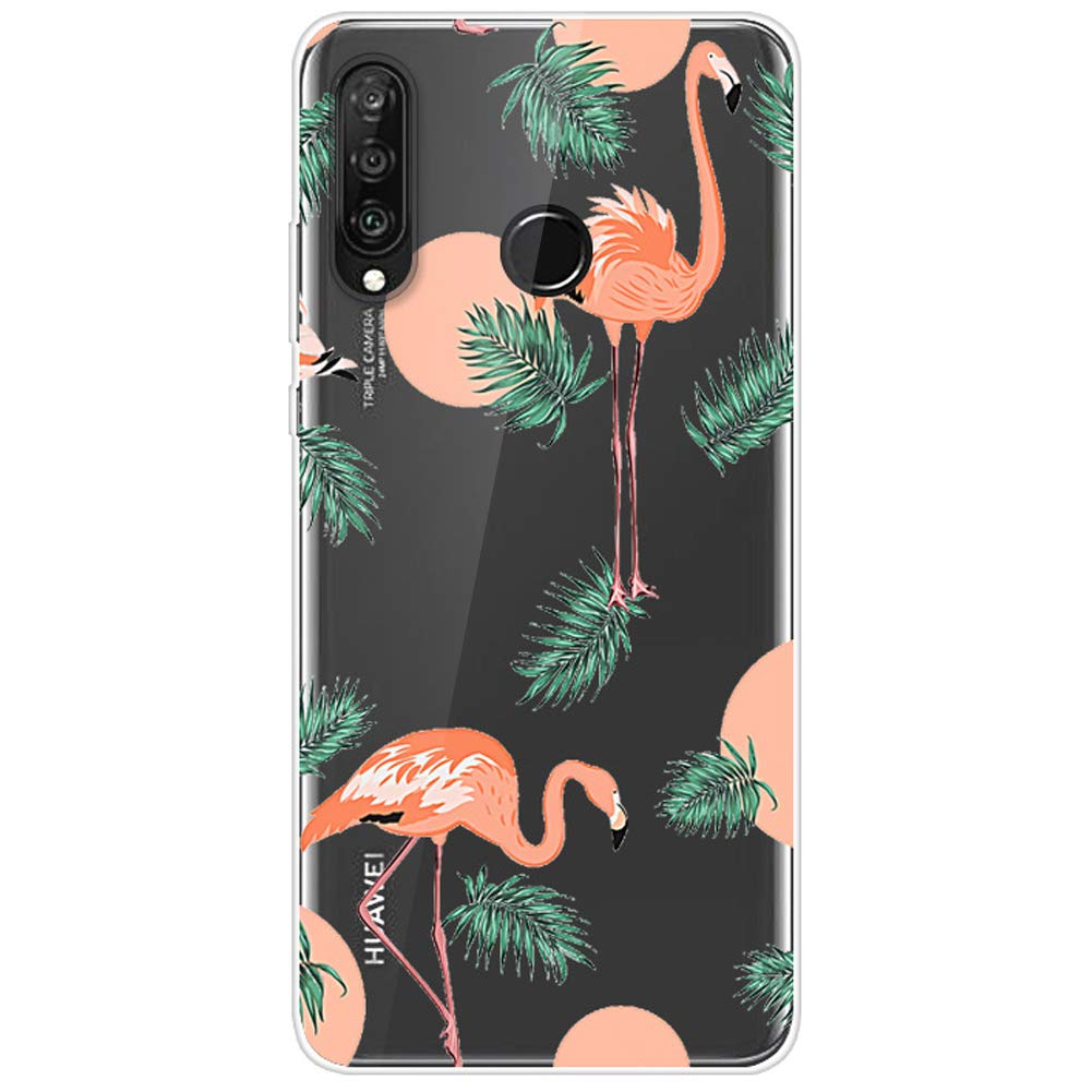 Felfy Kompatibel mit Huawei P30 Lite H/ülle,Kompatibel mit Huawei P30 Lite Case Silikon Transparent Ultra D/ünn Gel TPU Handy H/ülle mit Pink Flamingo Blume Kaktus Muster Schutzh/ülle Backcover Case