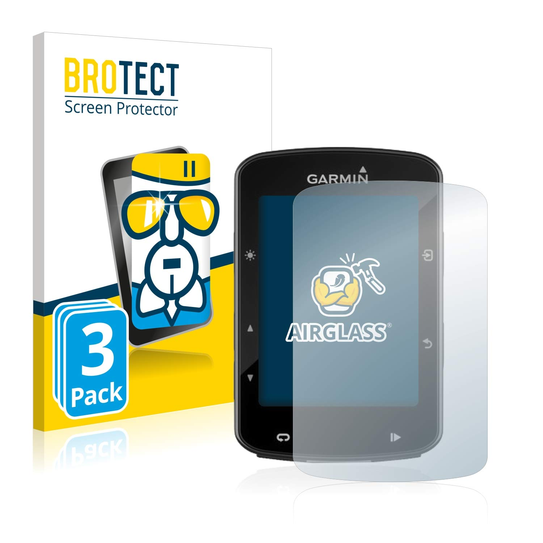 BROTECT Protector Pantalla Cristal para Garmin Edge 520 Plus [3 Unidades] - Cristal Vidrio 9H, AirGlass