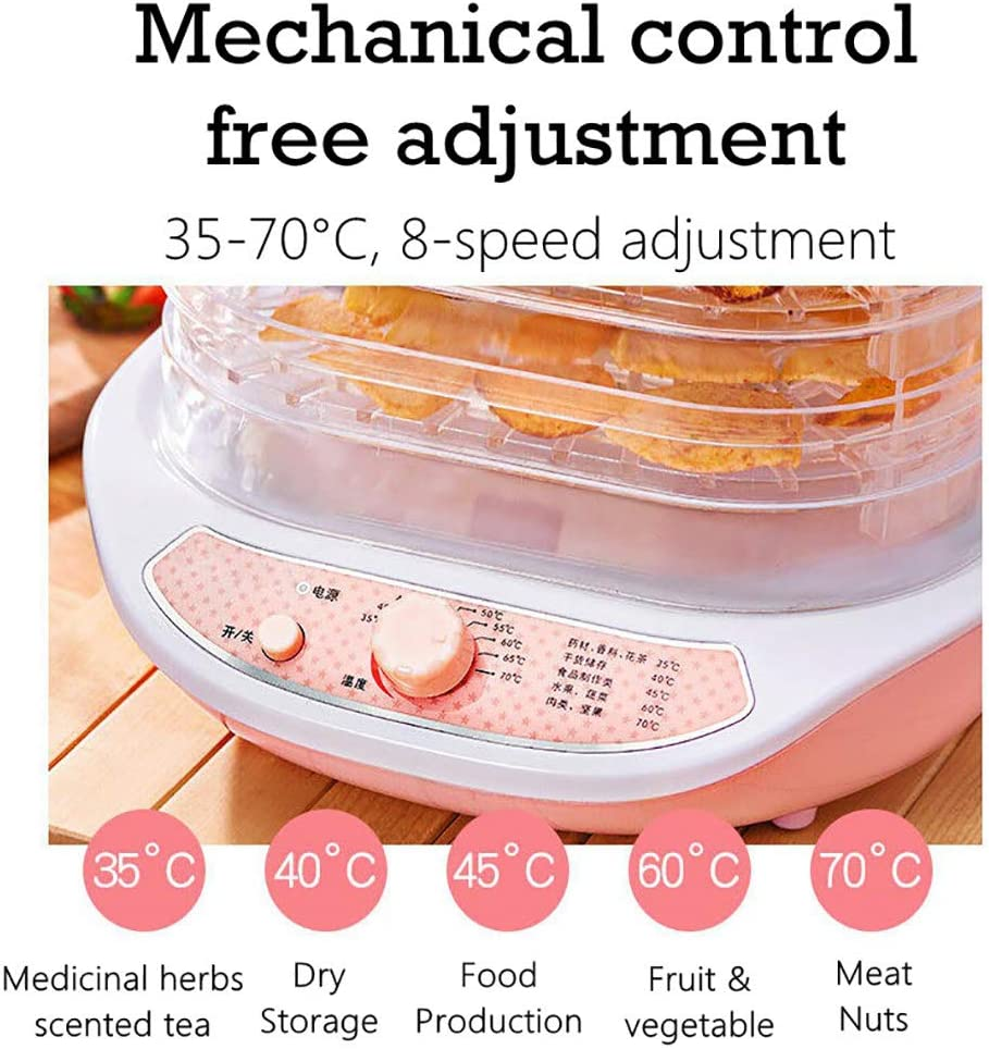 Gem/üse und Fleisch,Food Dehydrator f/ür Obst,Automatischer Abschaltschutz Energiesparend Mechanische Steuerung,Pink F/ünflagiges Hohlregal D/örrger/ät f/ür Lebensmittel,D/örrger/ät f/ür Obst