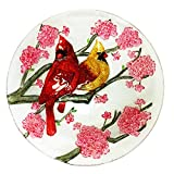 Continental Art Center Two Cardinals and Spring Flowers Glass Plate, 18-Inch