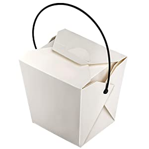 KEILEOHO 70 PCS 26 OZ Chinese Take Out Food Boxes White Disposable Takeout Food Boxeswith Plastic Handle for Restaurants Party and Food Service