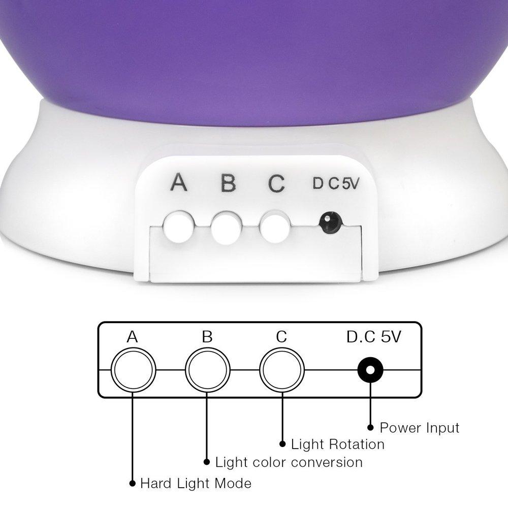 Círculo Círculo luna estrella cielo proyector 360 degree rotación 4 bombillas LED 7 cambio de color de la luz con cable USB - Luz de noche mesa escritorio ...