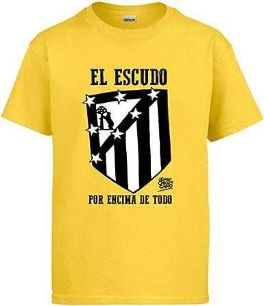 Camiseta Atlético de Madrid el Escudo por Encima de Todo Blanco y Negro: Amazon.es: Ropa y accesorios