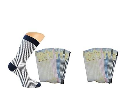 26036420bddc7 5er oder 10er Pack Damensocken weiß mit farbigen, feinen Ringeln ...