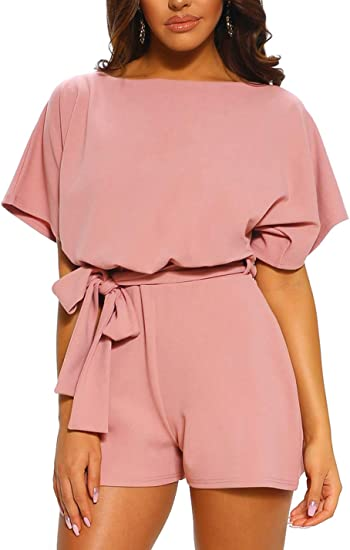 Ailunsnika Women Casual Overall Romper Playsuit Batwing Sleeve Belted Short Pant Jumpsuits Amazon Ca Clothing Accessories