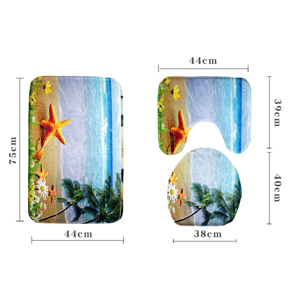 3Pcs 3D Ocean Underwater World Anti Slip Toilet Pattern Carpet Set Bathroom Mat, Pedestal Rug + Lid Toilet Cover + Bath Mat Makaor for Home Bathroom Decor MKChung